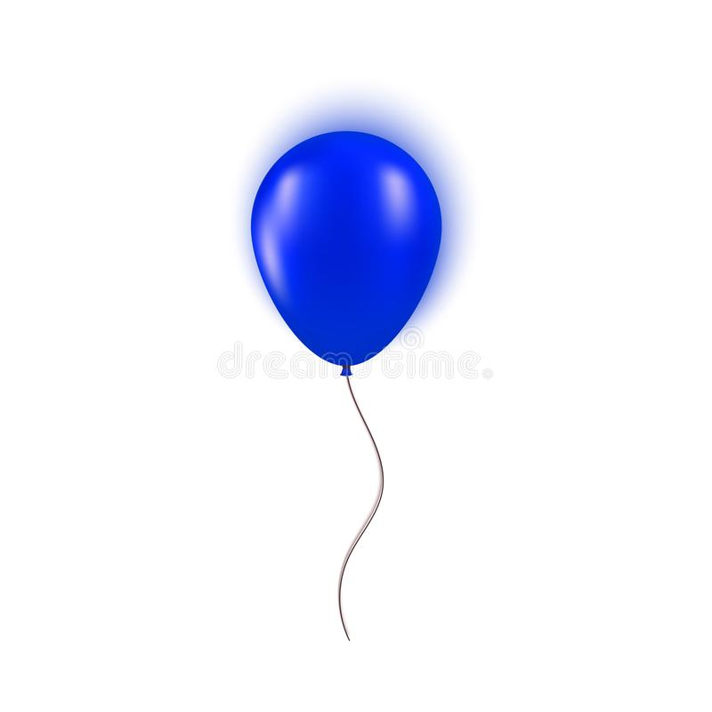 Realistic blue balloon isolated on white background. Vector element for Birthday or holiday card greeting card concept stock illustration