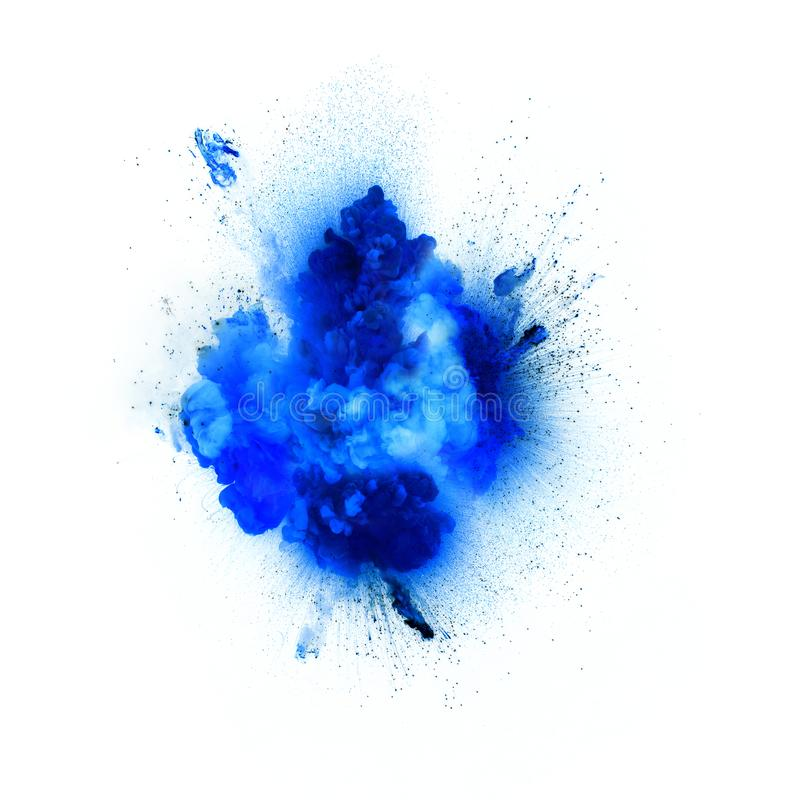 Realistic blue explosion with sparks over a white background royalty free stock images