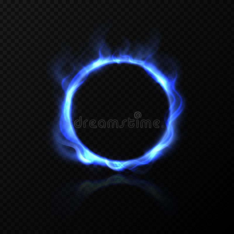 Realistic blue fire circle. Ring of blue fire with shiny flame effect. Vector burning round on black transparent royalty free illustration