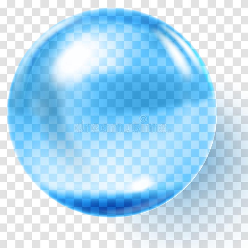 Realistic blue glass ball. Transparent blue sphere stock illustration