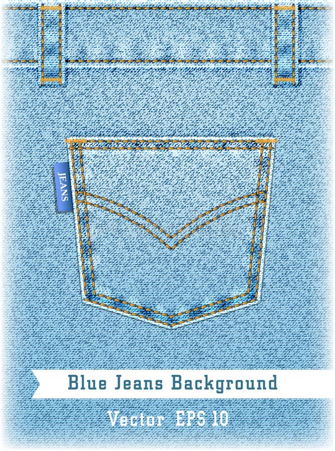 Realistic blue jeans background. Denim texture with pocket stock illustration