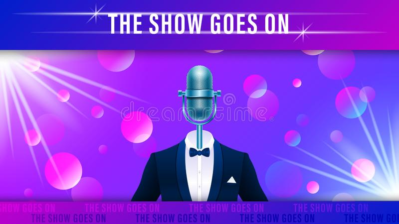 Realistic blue metal microphone in tuxedo. Compere, master of ceremonies, emcee on stage. Realistic blue metal microphone in tuxedo, suit with bowtie on stock illustration