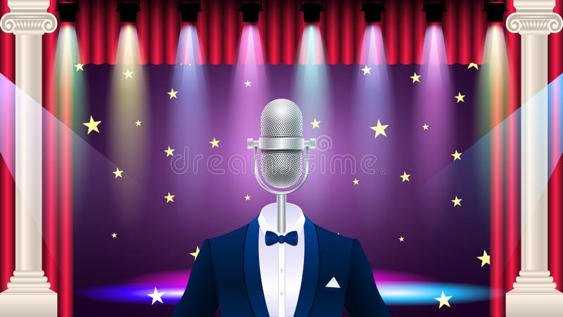 Realistic blue metal microphone in tuxedo. Compere, master of ceremonies, emcee on stage. Realistic silver metal microphone in tuxedo, suit with bowtie, concert royalty free illustration