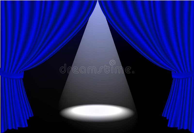 Download Realistic  Blue Stage Curtains And Spot Ligh Stock Vector - Image: 13697149
