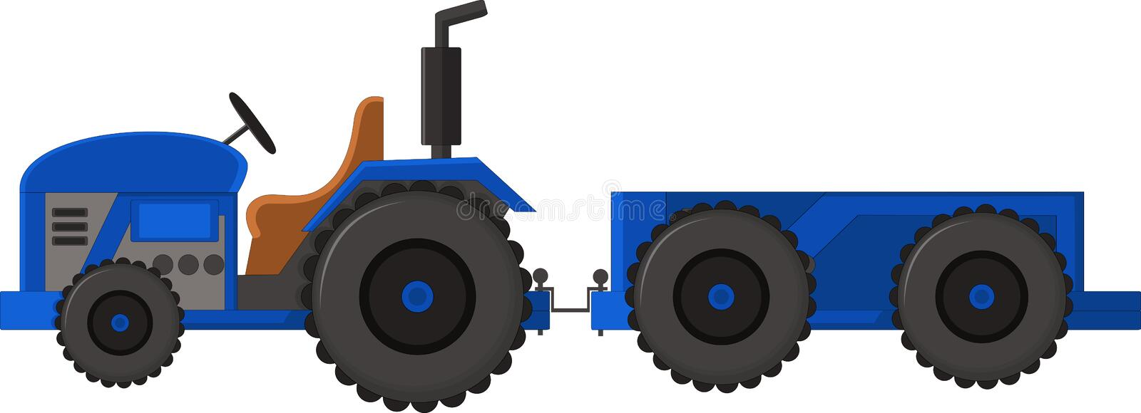 Realistic blue tractor icon, logo, shape with big wheels isolated with smoke on white background vector illustration