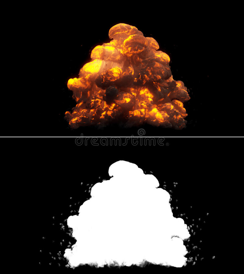 Realistic Bomb Explosion stock images