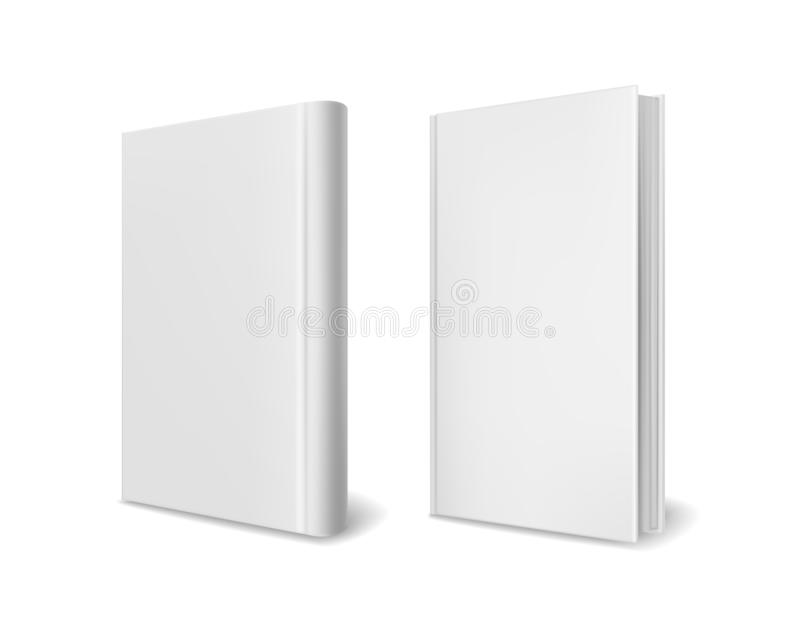 Realistic book cover mockups. Empty white perspective hardcover books brochure magazine or catalog vector 3d template royalty free illustration