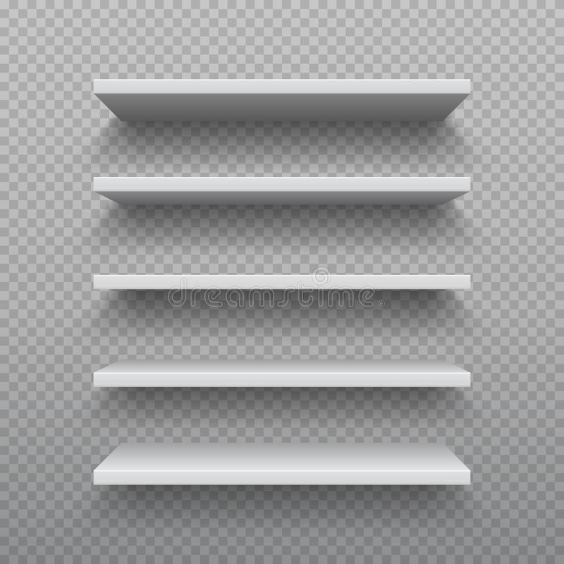 Realistic bookshelf. White plywood empty wall shelf, modern hardwood furniture, set of 3D business retail shelves vector illustration