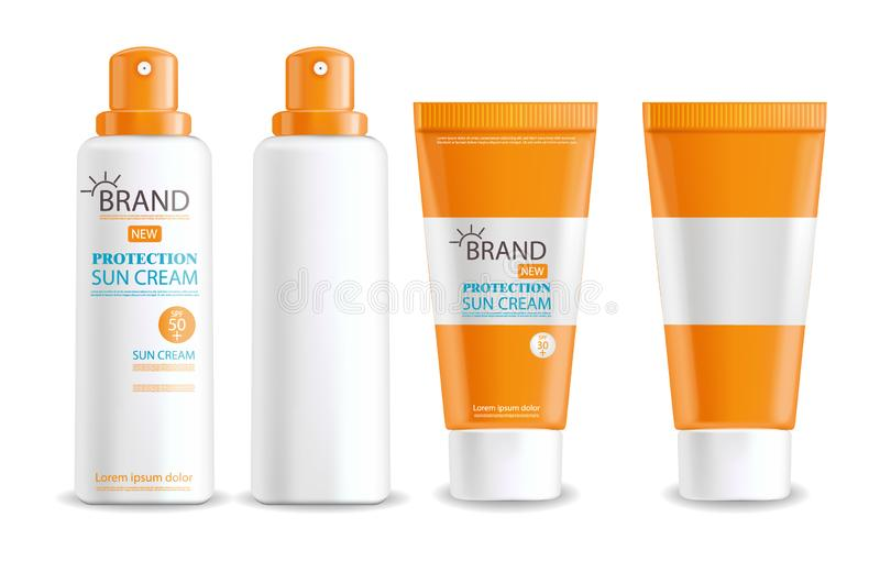 Realistic bottle, sun cream protection isolated. Realistic bottle, sun cream protection, spf 30 and 50, spray lotion cosmetics, package, isolated bottle vector royalty free illustration