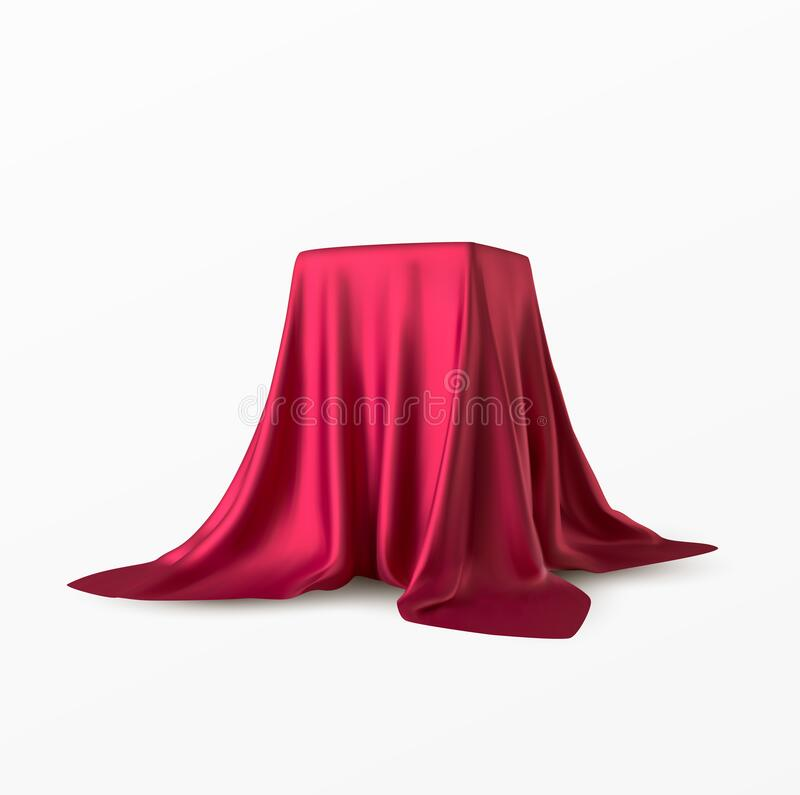 Realistic box covered with red silk cloth. Isolated on white background. Satin fabric wave texture material. Textile stock images