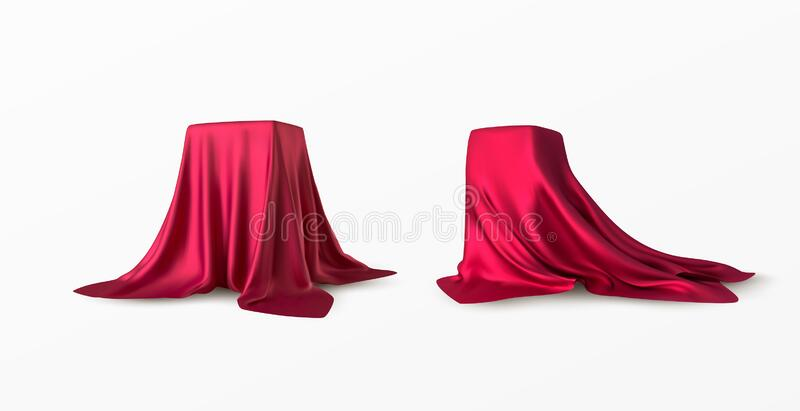 Realistic box covered with red silk cloth. Isolated on white background. Satin fabric wave texture material. Textile royalty free stock images