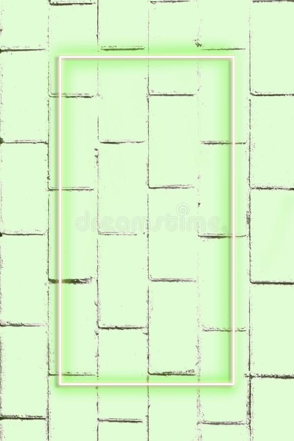 Realistic Brick wall, background, neon light, free space for text. Real zise stock photography