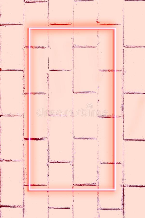 Realistic Brick wall, background, neon light, free space for text stock images