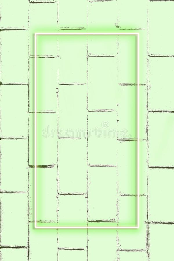 Realistic Brick wall, background, neon light, free space for text royalty free stock images