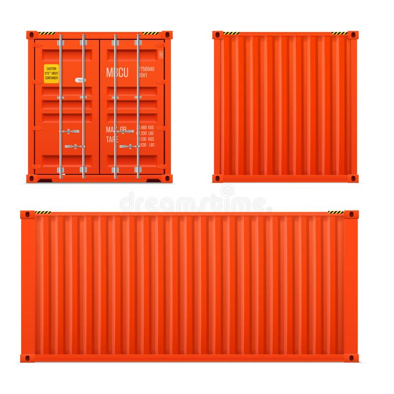 Realistic bright red cargo container set. The concept of transportation. Closed container. Front, back and sid. E. Realistic vectors set on white background royalty free illustration