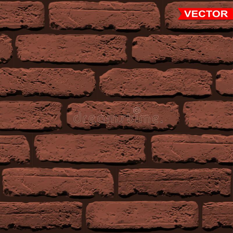 Realistic brown brick wall texture background stock image