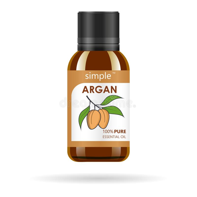 Realistic brown glass bottle with argan extract. Beauty and cosmetics oil - argan. Product label and logo template. Isolated vector illustration stock illustration