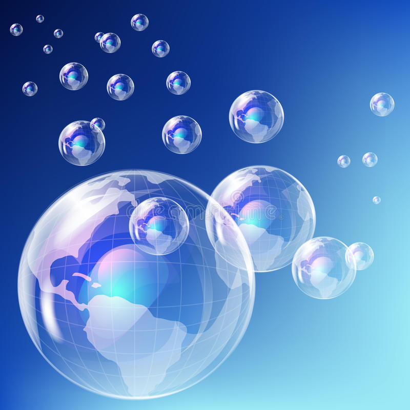 Realistic Bubble - Earth Globe. Royalty Free Stock Images