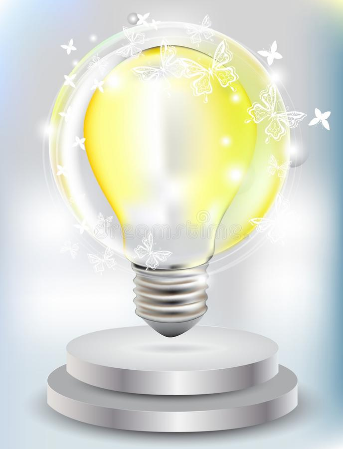 Realistic Bulb With Butterfly Stock Images