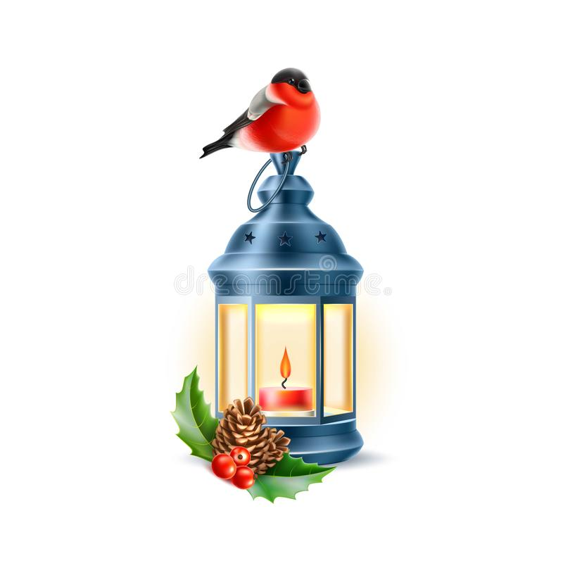 Vector vintage lamp bullfinch holly pine cone stock illustration