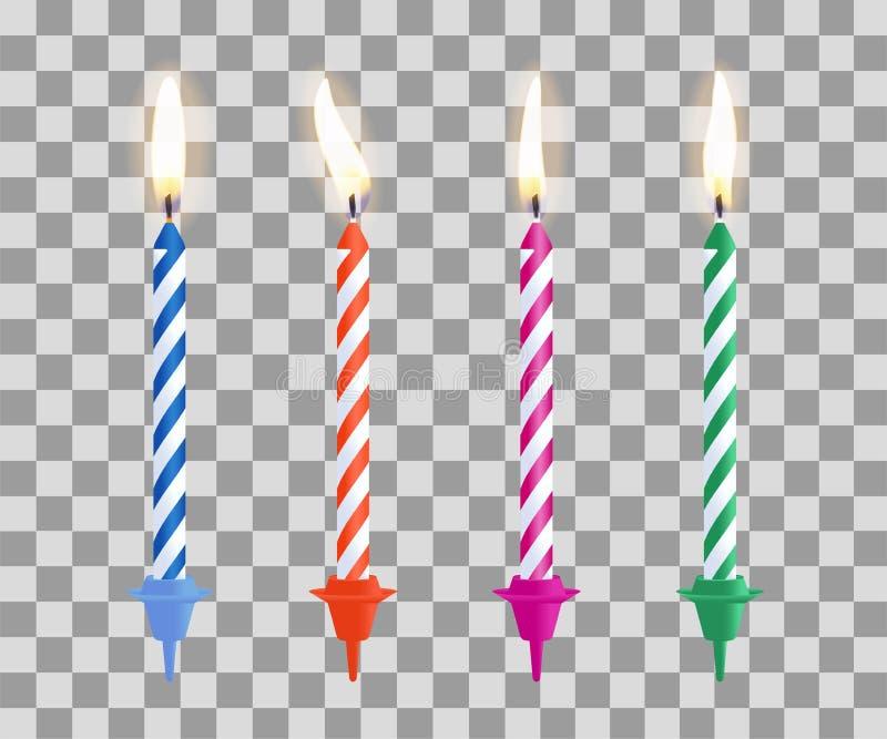 Realistic Burning Birthday Cake Candles Set Isolated On Transparent