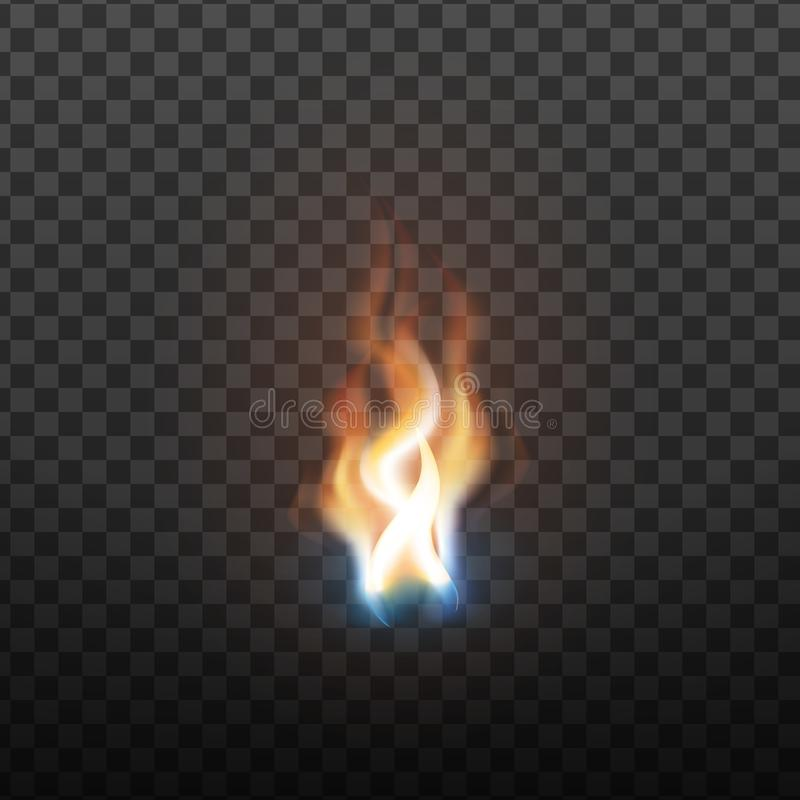 Realistic Burning Brush Fire Flame Element Vector. Hot Red Blaze Spurt Or Translucent Fire Torch Flame With Special Effect Closeup Isolated On Transparency stock illustration