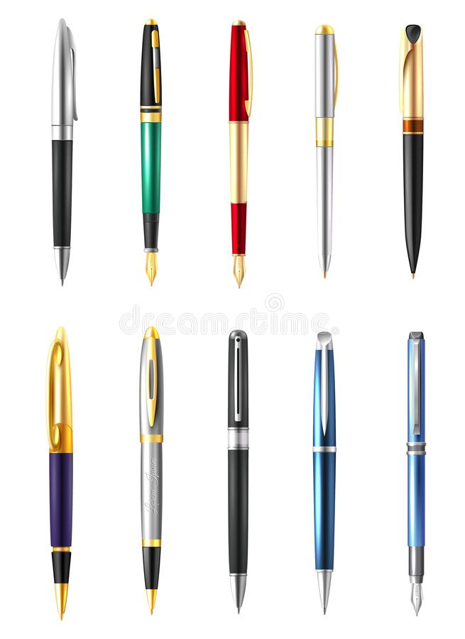 Realistic Business Pen Icon Set Stock Vector