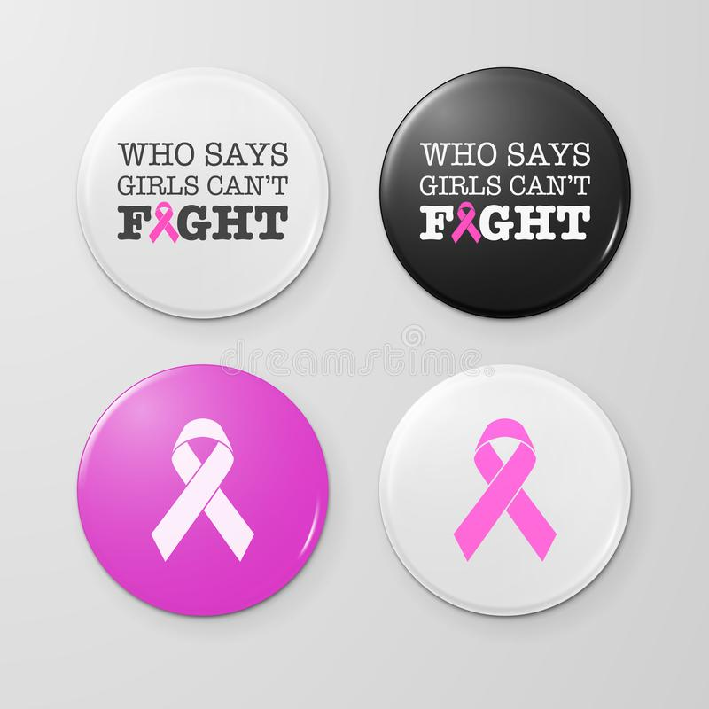 Realistic button badges with cancer theme inscription and pink ribbon - symbol of breast cancer awareness. Icon set stock illustration