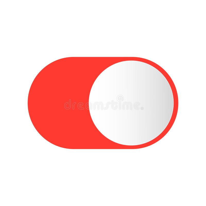 Realistic button switch for turning on off stock illustration