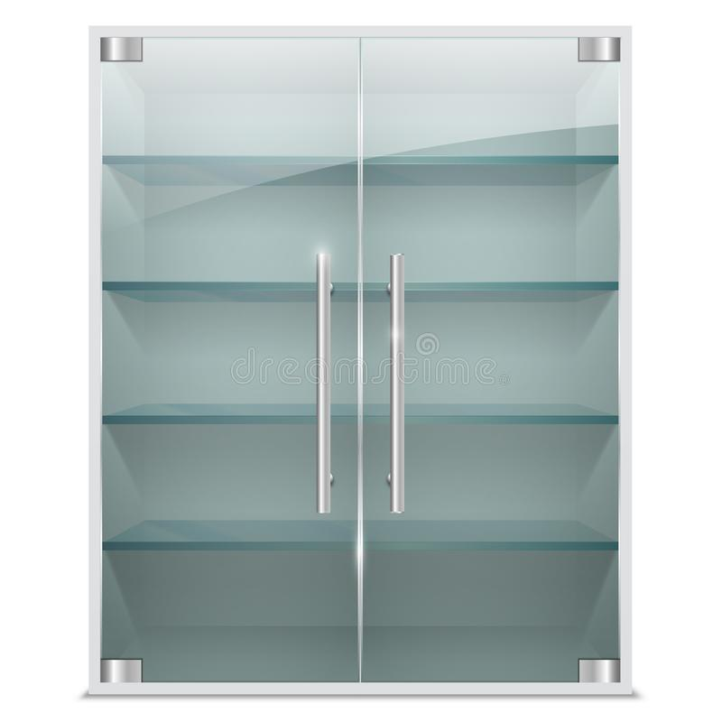 Realistic cabinet with transparent glass doors royalty free illustration
