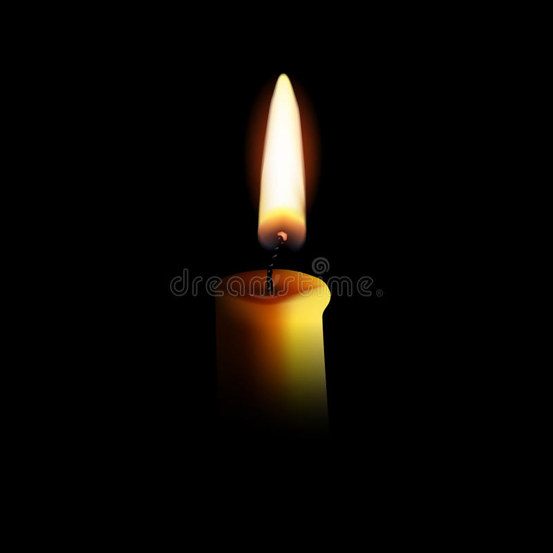 Realistic candle with fire isolated on black background. Vector illustration. vector illustration