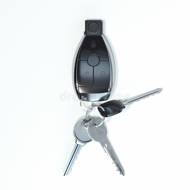 Car keys close up isolated on white background. 3d rendering. vector illustration
