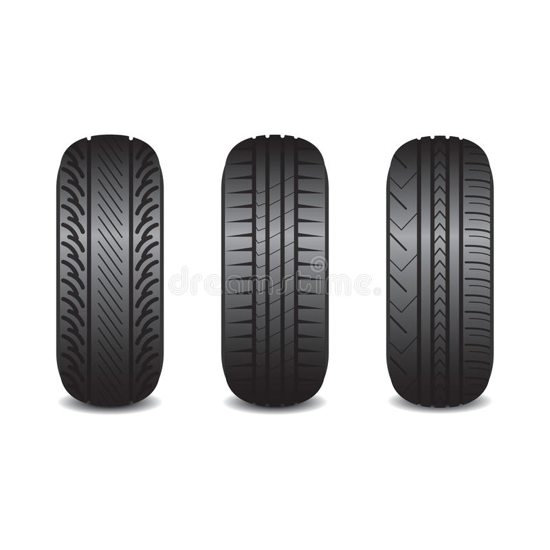 Realistic car tires with a shade. Vector illustration stock illustration