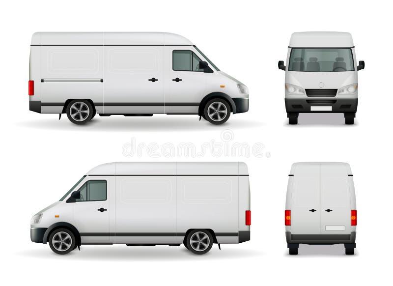 Realistic Cargo Van Advertising Mockup vector illustration
