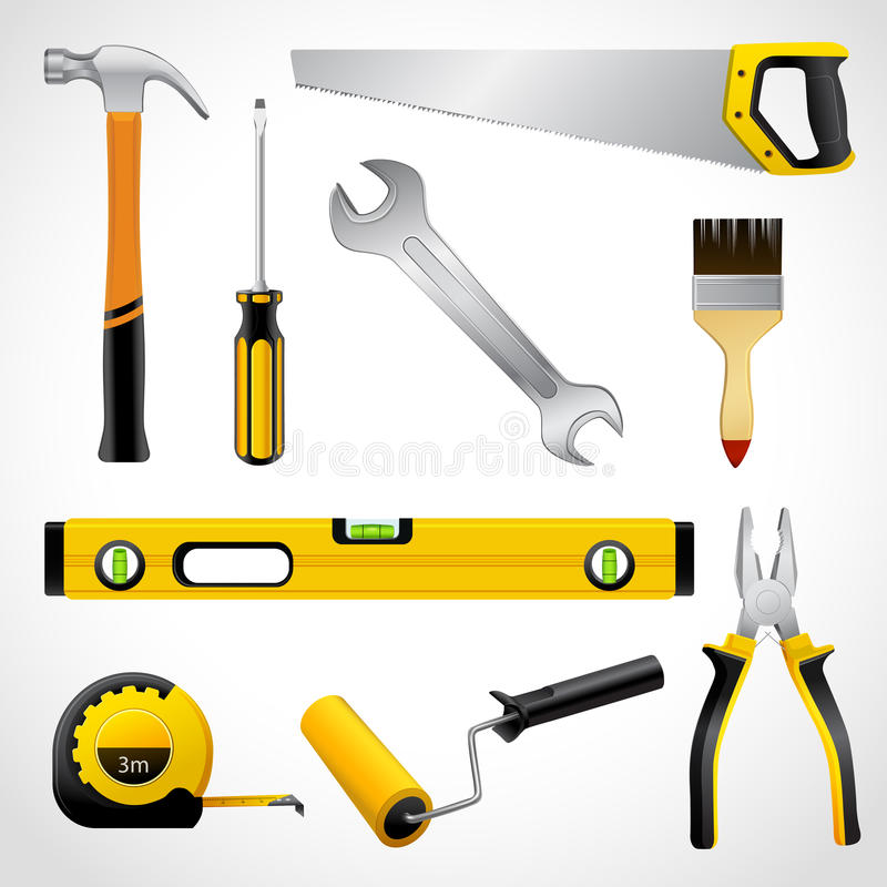 Free Realistic Carpenter Tools Icons Collection Stock Images - 39850764