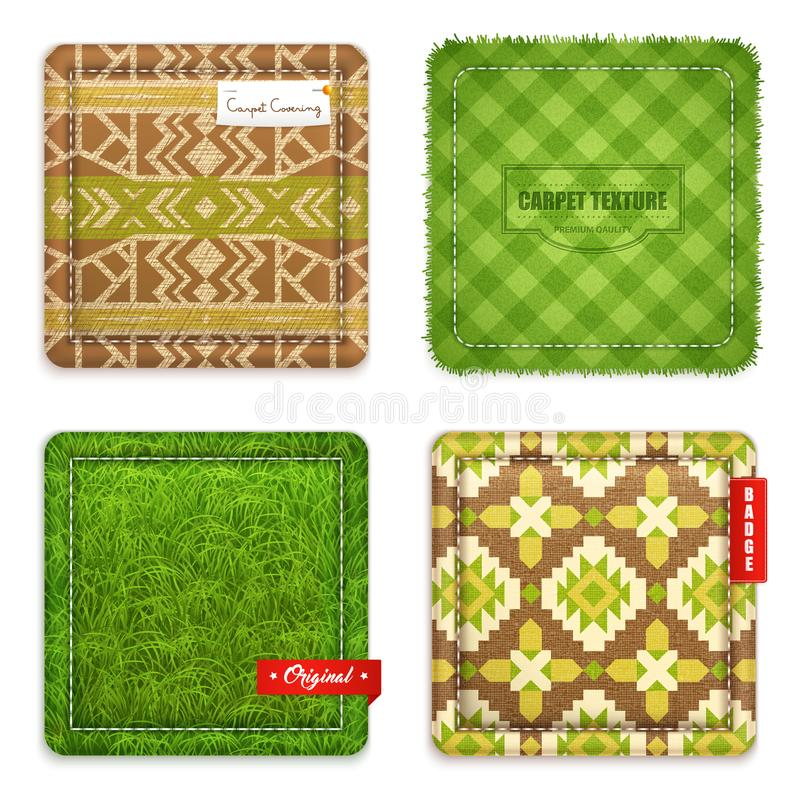 Realistic Carpet Texture Pattern Set royalty free illustration