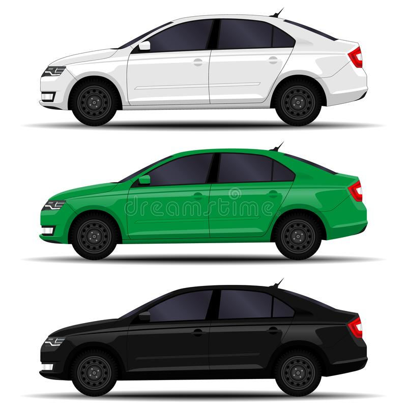 Realistic cars set vector illustration
