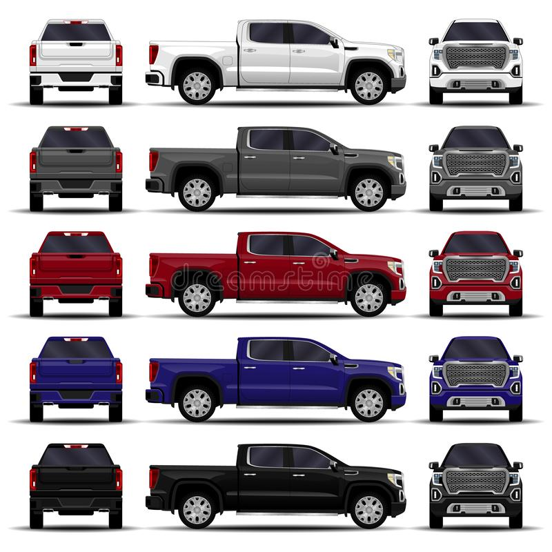 Realistic cars set. truck stock illustration