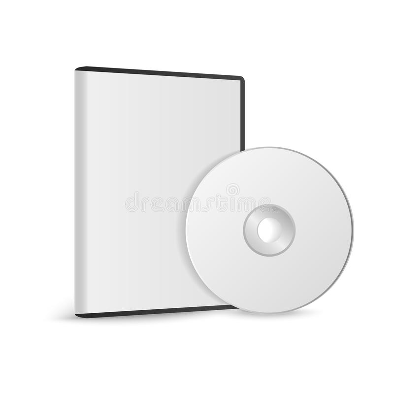 Realistic Case for DVD Or CD Disk with DVD Or CD Disk. Compact disk. Vector Illustration.  royalty free illustration