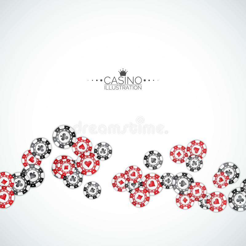 Realistic casino chips illustration on clean background. Isolated falling token. Vector gambling concept design. Realistic casino chips illustration on clean royalty free illustration