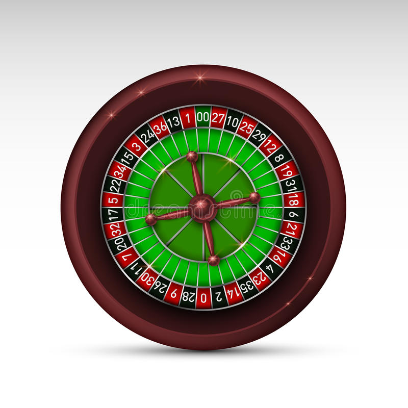 Realistic casino gambling roulette wheel isolated on white background. Vector illustration royalty free illustration