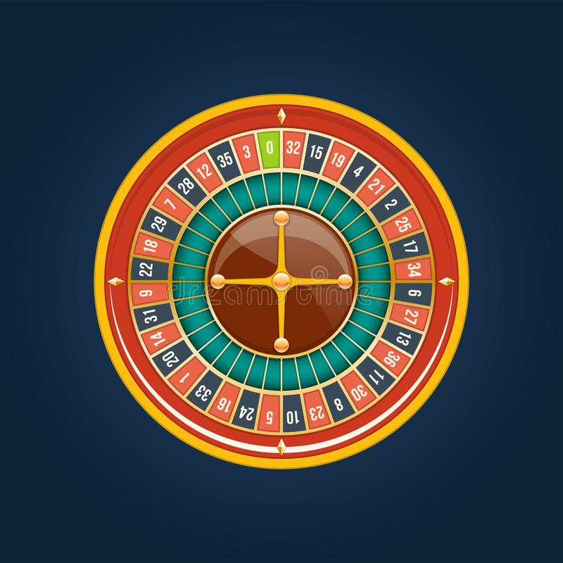 Realistic jackpot casino. Roulette wheel, lucky, financial growth, money profit. Realistic casino gambling roulette wheel. Play chance luck roulette wheel royalty free illustration