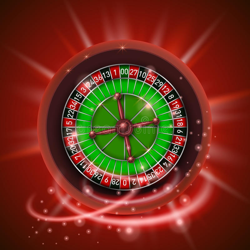 Realistic casino gambling roulette wheel, on red background. Vector illustration stock illustration