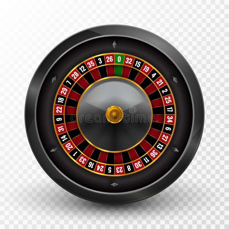 Realistic casino gambling roulette wheel . Vector play chance luck roulette wheel illustration.  royalty free illustration
