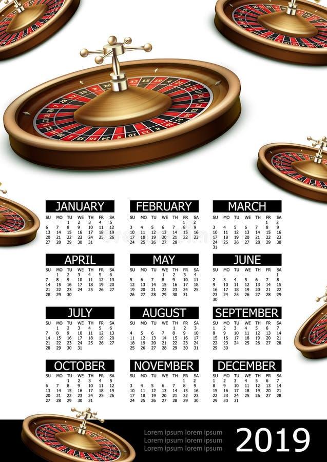 Realistic Casino 2019 Year Calendar Poster vector illustration
