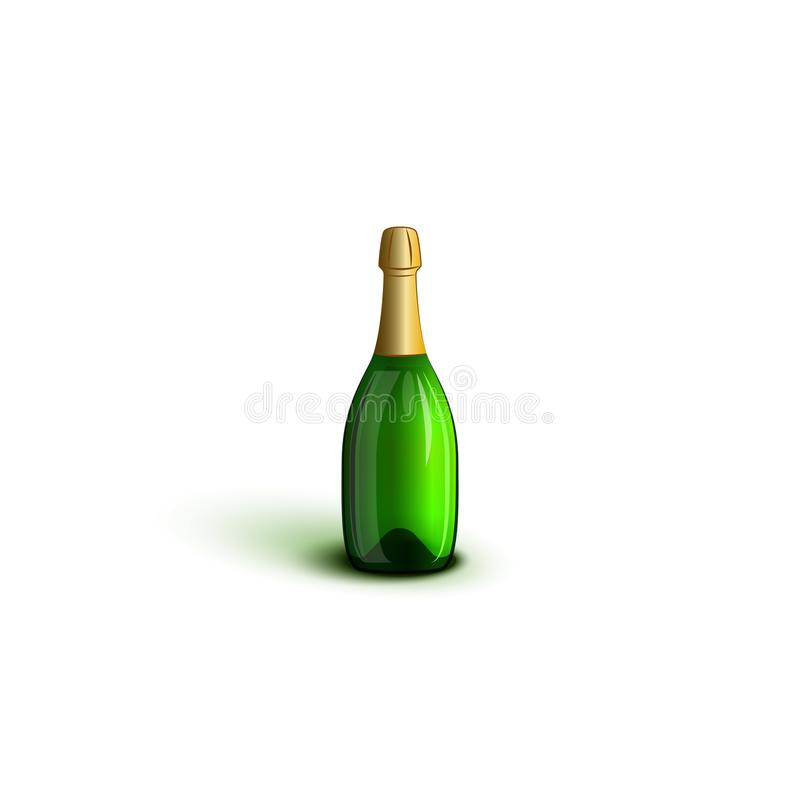 Realistic champagne bottle mockup green glasses without labels isolated on white background vector illustration. Decor element for stock illustration