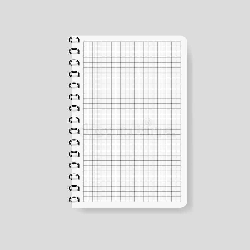 Realistic checked notebook in mockup style. Blank notepad with spiral. Template of empty notepad on isolated background.Note with stock illustration