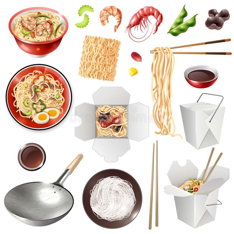 Realistic Chinese Noodles Set royalty free illustration