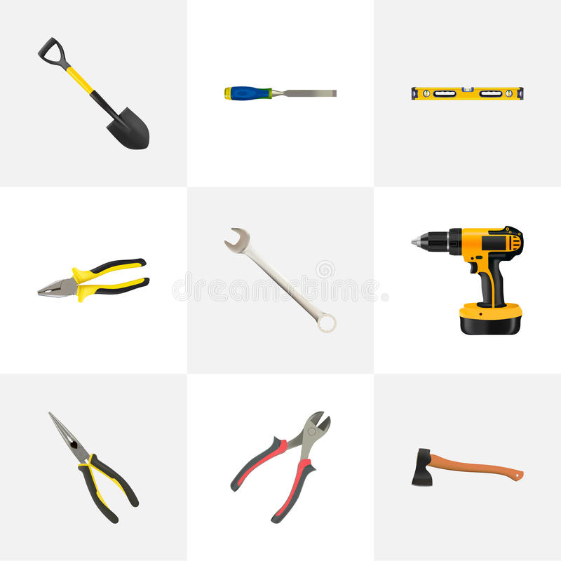 Realistic Chisel, Nippers, Pliers And Other Vector Elements. Set Of Tools Realistic Symbols Also Includes Noise, Tool. Realistic Chisel, Nippers, Pliers And stock illustration
