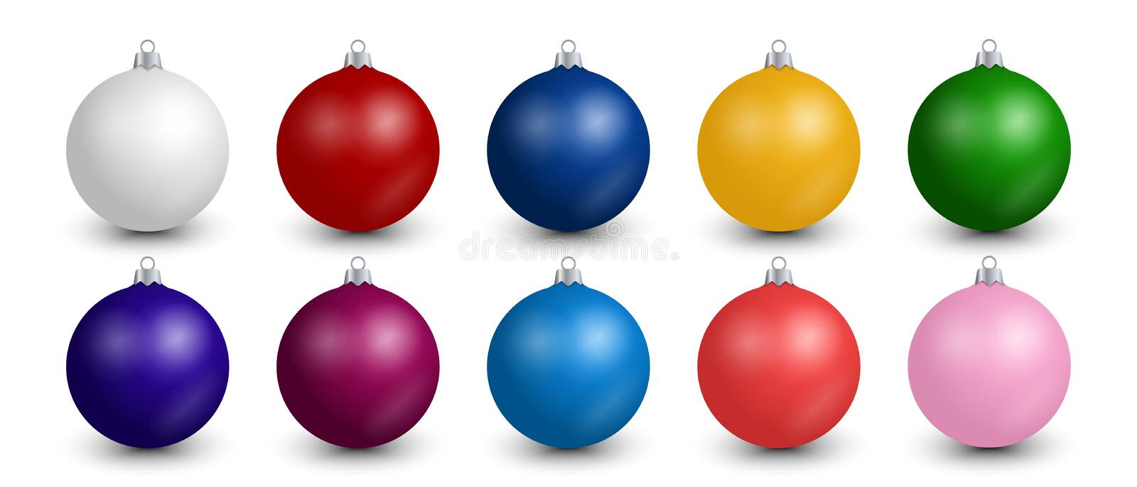Realistic Christmas balls collection. Set of colorful festive decoration for Christmas tree isolated on editable white background stock illustration